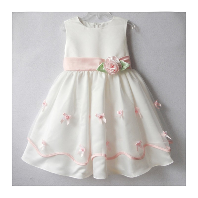 Robe de Cérémonie Fille et Demoiselle d'honneur 3-6 ans Rose Blanc