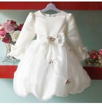 Baby flower girl long sleeve formal dress 2-6T