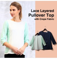Lace layered pullover top with crape fabric