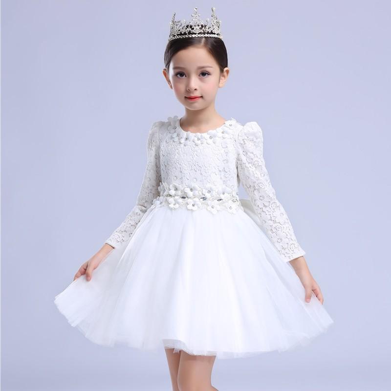 Abitino cerimonia bambina damigella bianco 110-150cm