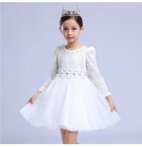 Robe blanche de cérémonie fille demoiselle d'honneur 110-150cm