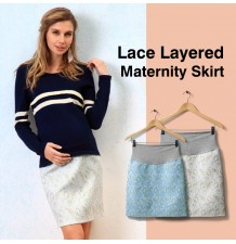 Lace Layered Maternity Skirt