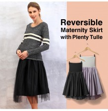 Gonna premaman reversibile in taffetà e tulle