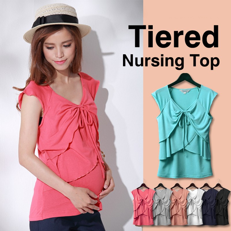 Halter Nursing Tiered Top