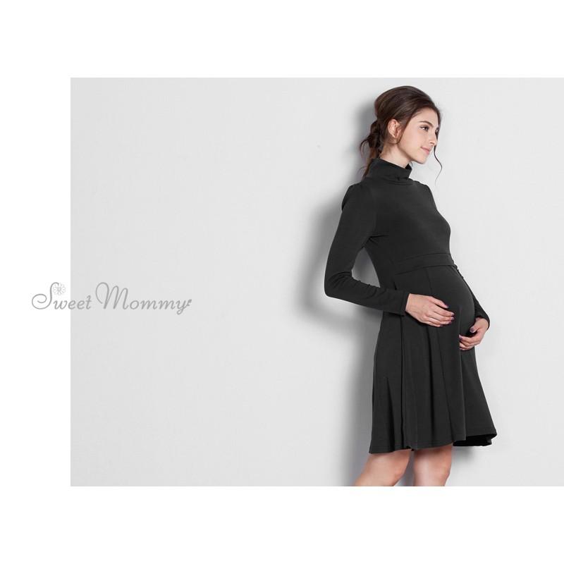 Robe de grossesse et allaitement à trapèze et manches longues