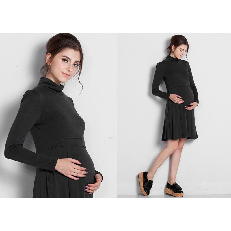A-line and long sleeve maternity and nursing dress