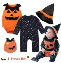 Costume/tutina 3 pz di Halloween per bambino 0-3 anni
