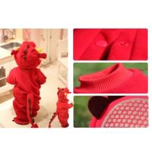 Costume Carnevale Drago Rosso per Bambino 6-24 mesi