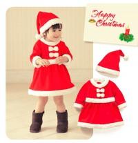 Costume de Père Noel petite fille 80cm - 95cm
