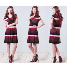 Multi-border Maternity & Nursing Dress