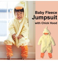 Baby fleece jumpsuit with chick hood