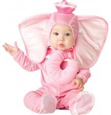 Costume Carnevale Elefante Rosa per Bimba Incharacter 0-24 mesi
