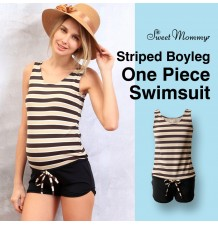Striped boyleg one piece maternity and nursing swimsuit