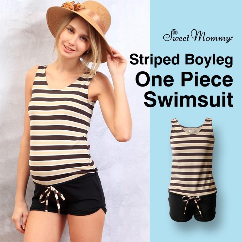 Striped boyleg one piece maternity and nursing swimsuit