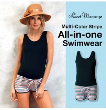 Multi-color stripe all-in-one maternity and nursing  swimwear