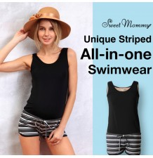 Unique striped all-in-one maternity and nursing swimwear