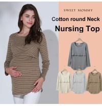 Maglietta premaman e allattamento girocollo a righe a maniche lunghe