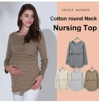 Round neck and striped long sleeve nursing top