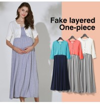 Fake layered Maternity Nursing Maxi Dress