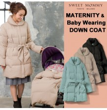 Down mother coat with transformable baby pouch for stroller