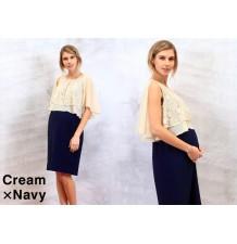 Vestito premaman e allattamento bicolore in chiffon