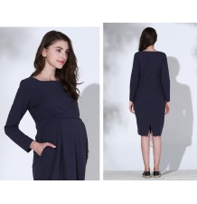 Maternity and nursing long sleeve dress with boat neck