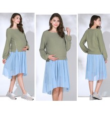 Maternity and nursing sweater with lateral zips