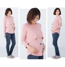 Top de grossesse et d'allaitement à manches longues