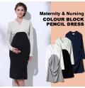 Maternity and nursing long sleeve dress