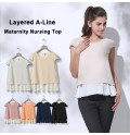 Maternity and nursing short sleeve and double layer top