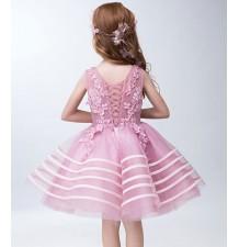 Abitino cerimonia bimba damigella rosa 110-150 cm