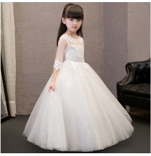 Flower girl long formal dress ivory colour 100-150 cm