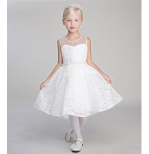 Flower girl white formal dress 80-140 cm