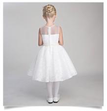 Robe blanche de cérémonie fille-demoiselle d'honneur 80-140cm