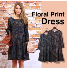 Maternity and nursing long sleeve dress with floral pattern