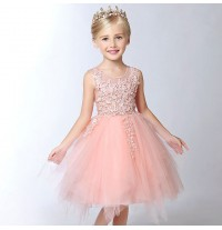 Flower girl formal dress color peach 90-160 cm