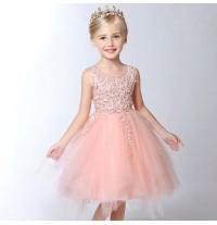 Flower girl formal dress peach pink 90-160 cm