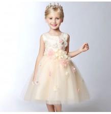 Robe couleur champagne de cérémonie fille-demoiselle d'honneur 80-140cm