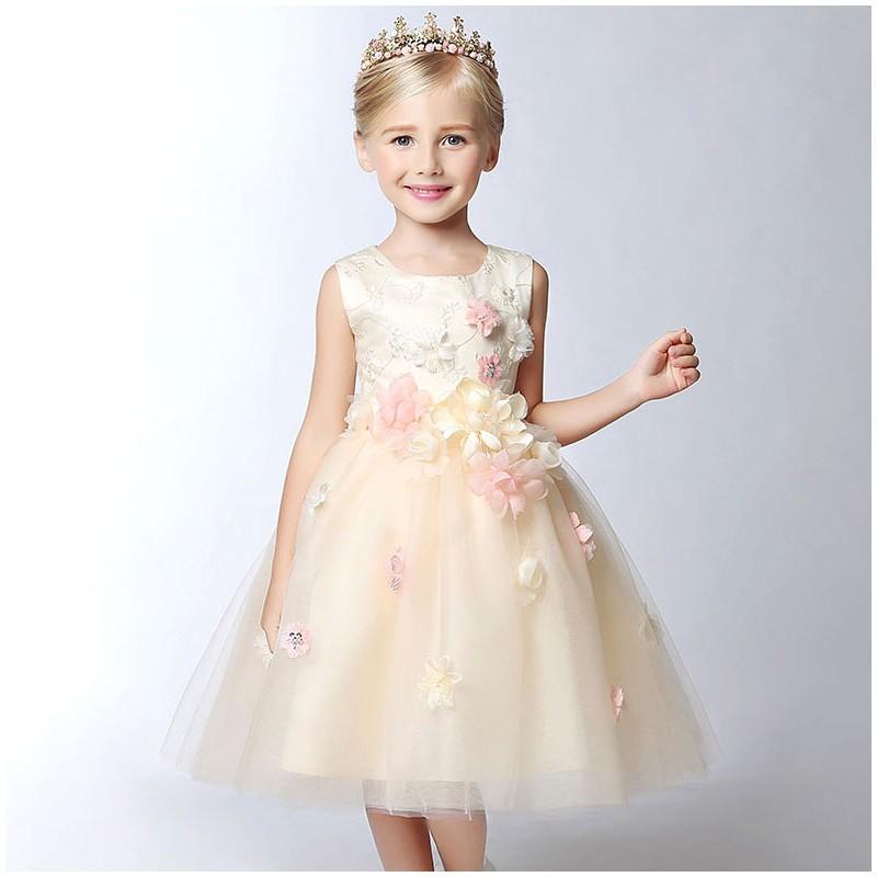 af199fcf4e9 Flower girl champagne-colour formal dress 100-150 cm ...