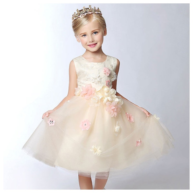 flower girl champagne colour formal dress 100 150 cm sweet mommy. Black Bedroom Furniture Sets. Home Design Ideas