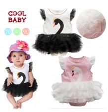 """Vestitino bambina estate modello """"piccolo cigno"""" 70-95cm"""