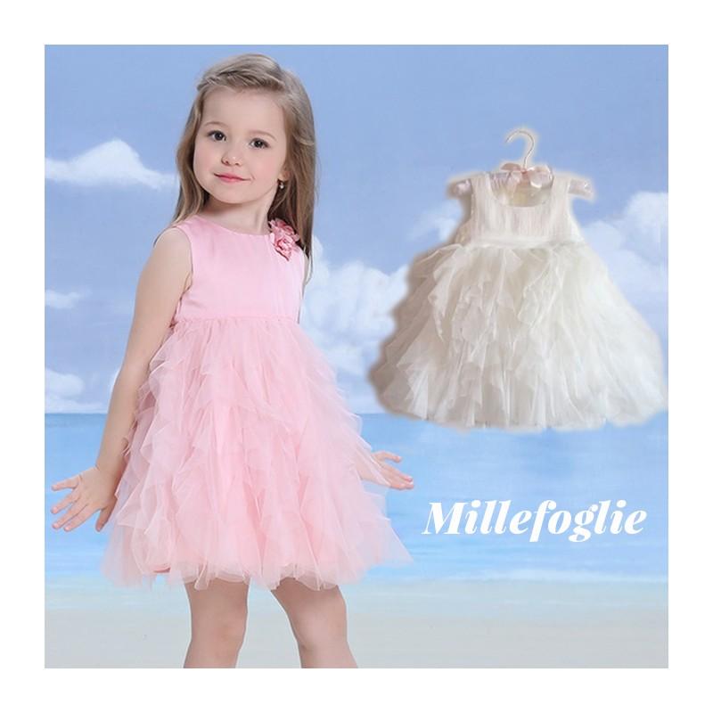 brand new d69b3 5a08b Vestito Cerimonia Damigella Bambina Bianco Rosa 9M - 6 anni