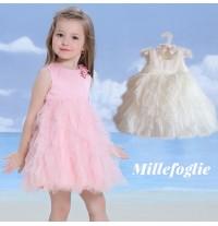 Robe de Cérémonie Demoiselle d'honneur Fillle Blanche Rose 9M - 6 ans