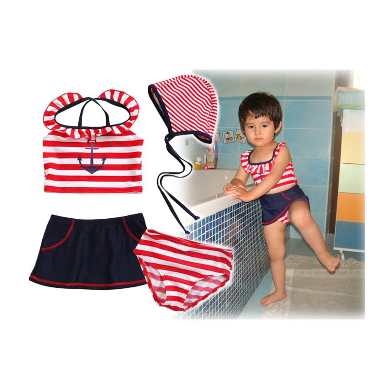 Swimsuit For Little Girl In Sailor Style 4 Pieces Set