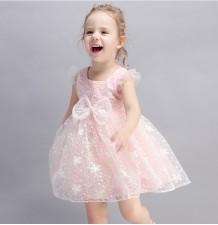 Vestitino bimba damigella bianco / rosa 90-140cm