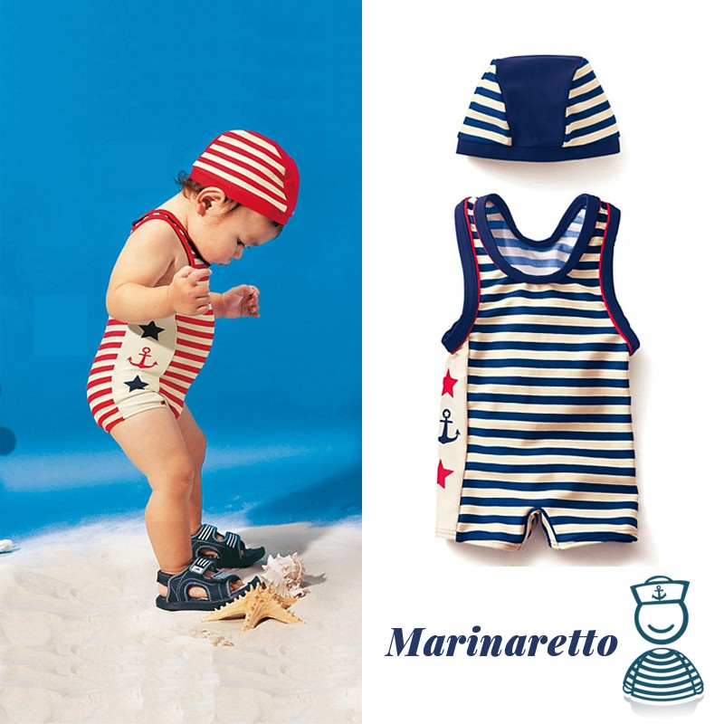 Swimsuit For Little Boy In Sailor Style