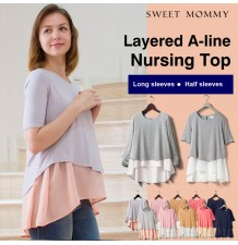 Maternity and nursing long sleeve and double layer top