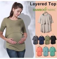 Maternity and nursing bamboo layered top