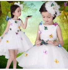 Robe de cérémonie fille demoiselle d'honneur blanche avec papillons 100-140cm