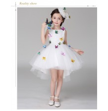 Flower girl formal dress white colour with butterflies 100-140cm
